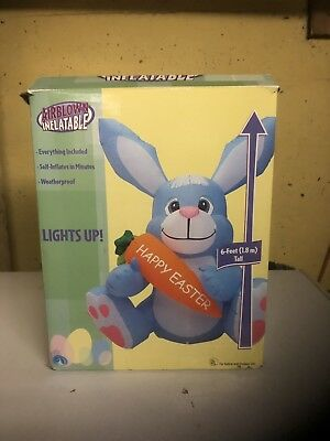 2004 GEMMY AIRBKIWN INFLATABLE HAPPY EASTER BUNNY 6ft L@@K