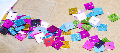 10g mixed coloured square sequins 0.5 x 0.5 mm craft findings