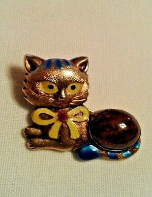 Vtg Chinese Export Silver Gold Gilt Enamel Feline Cat Brooch Pin With Stone