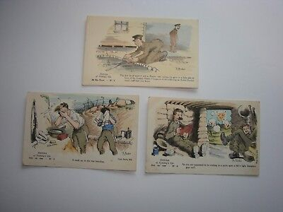 British / Canadian WW1 Military Post Cards, 3 x Sketches of Tommy's Life