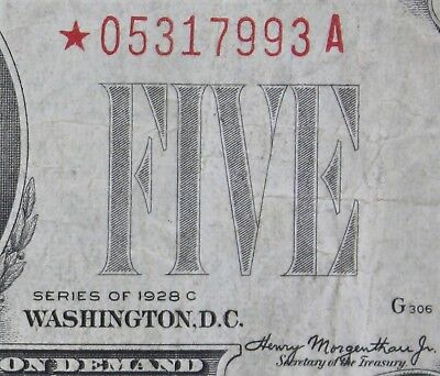 $5 1928C STAR Large Red Seal US Note *05317993A five dollar series C, FREE SHIP