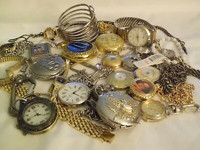 Estate JUNK DRAWER LOT Pocket Watches Watches Jewelry ESTATE LOT