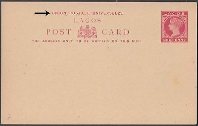 NIGERIA LAGOS SCARCE UNUSED UPU 1d ON ½d POSTAL STATIONERY POST CARD ON STOUT.