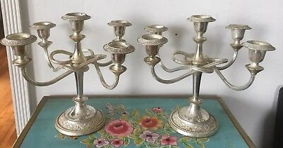 Pair Of Antique/vintage  Silver Plated  Candelabra