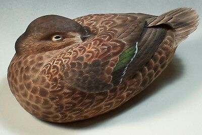 Green Wing Teal Hen Realistic Bird Carving