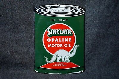 Vintage Sinclair Opaline Porcelain Sign Motor Oil Can Gas Station Dino Rare Ad