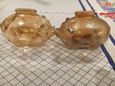 Pair Anchor Hocking Marigold Iridescent Piggy Bank One Has Some Pennies