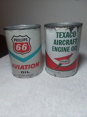 Vintage Texaco & Phillips 66 Aircraft Engine Oil