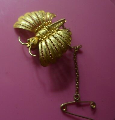 Antique Gold or Vermeil Victorian Brooch Animal Insect Butterfly - NZ Estate-EC