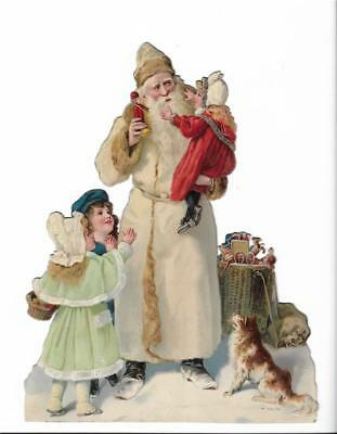 1900s CHRISTMAS PAPER MACHE SANTA CLAUS W/TOY HORSE AND  CARRIAGE