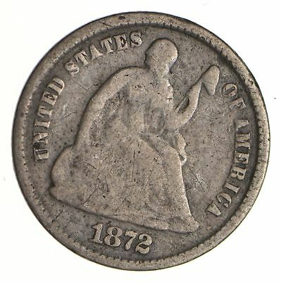 5c ***1/2 Dime** - 1872 Seated Liberty Half Dime - Early American Type Coin *973