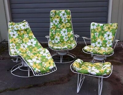 Authentic Mid Century Modern Sculptural Wire Outdoor Patio Furniture 4 pc White