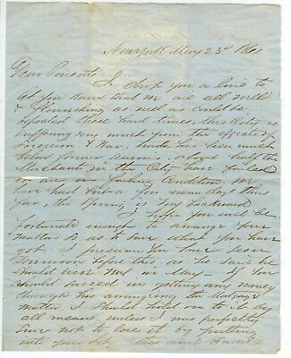 1861 New York Civil War letter suffering merchants - England likely to interfere