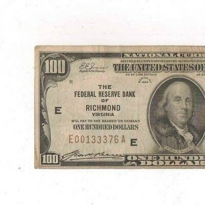 1929 ( $100 ) One Hundred Dollars Federal Reserve Bank Of Richmond, Virginia