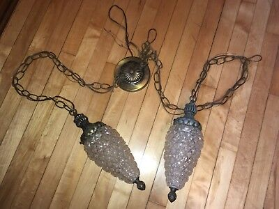 Antique pair swag pendant ceiling light fixture lamp clear cut glass globe brass