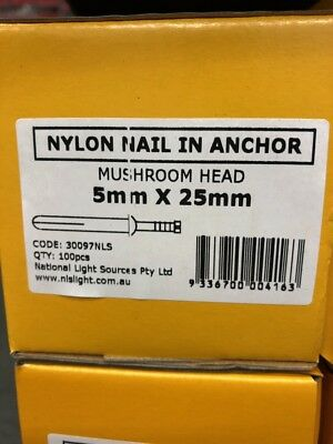5mm x 25mm Nylon Anchor Mushroom Head Box of 100