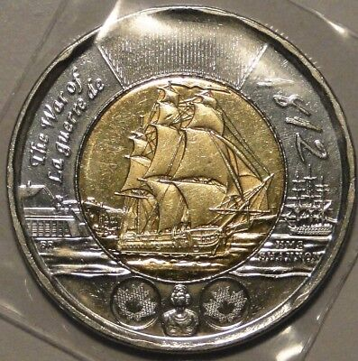 Canada 1812-2012 $2 dollar 'HMS Shannon' 1812 war toonie coin nice circulated