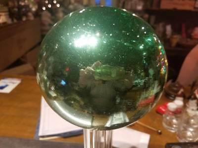"Antique Original 6"" Victorian Green Gazing Witches Ball Orb NR!"