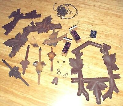 Old Cuckoo Clock Parts Hands Chains Top Pieces Pendulums Hooks Carved Cuckoo etc
