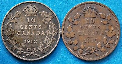 Canada Canadian 10 Cent Silver Coins King George V - 1912 & 1913 - Lot Of 2