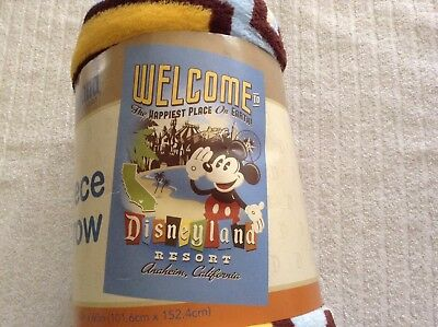 New Disneyland Resort Fleece Throw Welcome To The Happiest Place On Earth 40X60