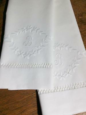 "Antique Pure Linen Pillowcase Set Embroidered Monogram ""B"" Hemstitched 18""x35"""