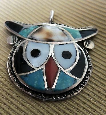 Zuni Theodore Ted Edaakie Pendant Mosaic Channel Dot Inlay Horned Owl 1940-50s