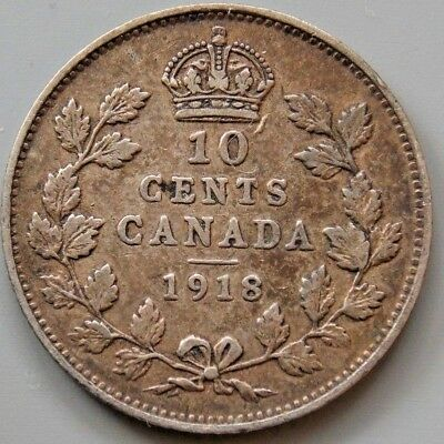 1918 Canada Canadian 10 Cent Silver Coin King George V