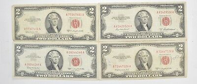 Lot (4) Red Seal $2.00 US 1953 or 1963 Notes - Currency Collection *522