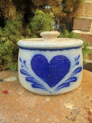 Rowe Pottery Salt Glazed Crock with Lid- Heart Design~Excellent Condition