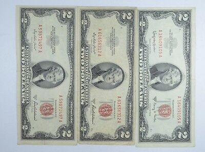Lot (3) Red Seal $2.00 US 1953 or 1963 Notes - Currency Collection *062