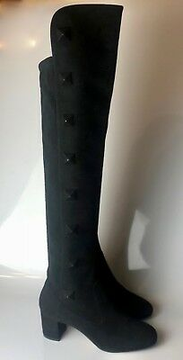 2f85f0f1082  1995 Valentino Rockstud Studded Black Suede Tight-high Over the Knee Boots  37