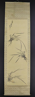 """JAPANESE HANGING SCROLL ART Painting """"Orchid"""" Asian antique  #E5192"""
