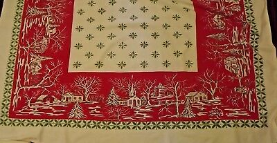 """Vintage Christmas Table Cloth Mid-Century Country Scene, Holly Rectangle 58""""x54"""""""
