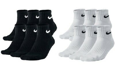 Nike Performance Cotton Cushioned Quarter Socks Mens Black White Large 8-12