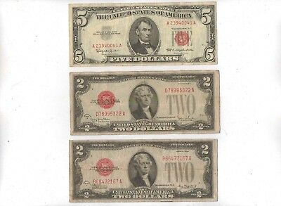 1928 ($2) Two Dollar Large Red Seal 1963 ($5) Five Dollar Notes