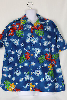 80c811d216 STITCH HAWAIIAN MEN S Blue Size M Short Sleeve 1 Pocket Shirt ...