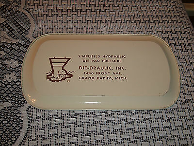 Vintage tin tray with ducks and advertising for Die-Draulic Inc Grand Rapids MI