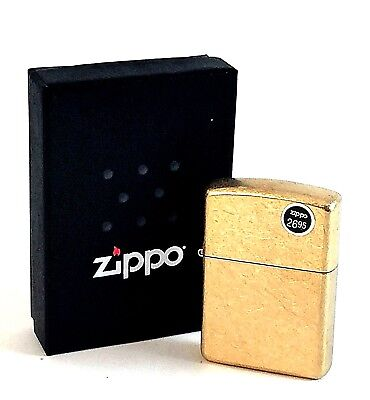 BRAND-NEW Zippo Armor Case Tumbled Brass Windproof Lighter In Box, # 28496