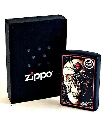 BRAND-NEW Zippo Mazzi Skull Black Widow Windproof Lighter In Box, # 28627