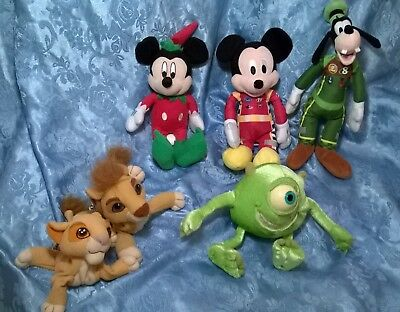 """Lot Of 6 Assort.""""disney"""" Stuffed Toys.roadster Racers,monsters,inc.lion King.exc"""