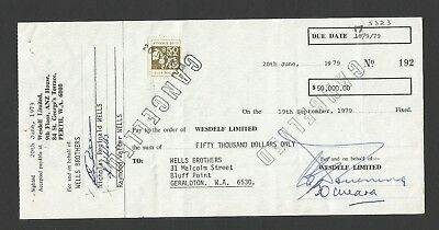 WO8L WEST AUSTRALIAN OLD 1979  DOCUMENT with $50 REVENUE DUTY STAMP 2 scans