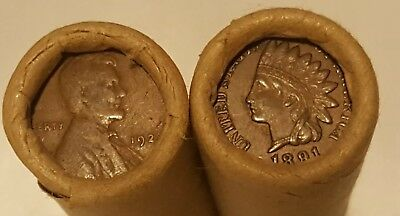 Indian Head cents Wheat penny rolls Two rolls 1859 1958 PDS US coins lot rare