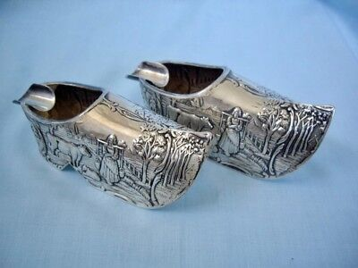 Pair of Antique Ornate Repousse Dutch Silver Shoe Ash trays
