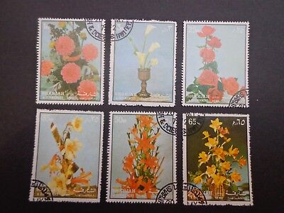 Sharjah.set Of Six Native Flowers  -:- In Nice C.t.o Condition With Full Gum.
