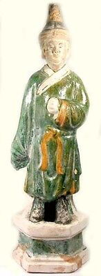 Ming China Sancai Statuette Antique 15thC Male Attendant Multi-Color Funerary XL