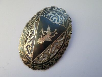 Vintage sterling silver Niello brooch - 13.2 grams