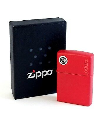 BRAND-NEW Zippo Red Matte With Zippo Logo Windproof Lighter In Box, # 233ZL