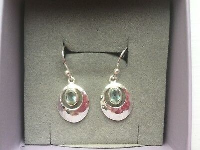 New Boxed Pia Sterling Silver And Topaz Earrings