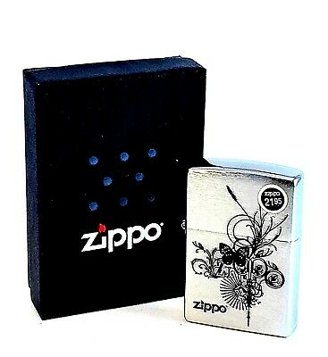 BRAND-NEW Zippo Brushed Chrome Butterfly Windproof Lighter In Box, # 24800